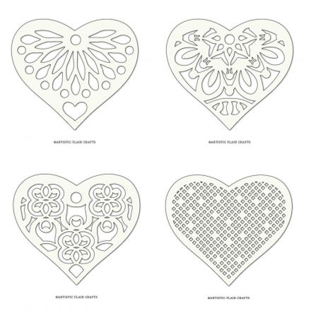 Lace Hearts - Set of 4